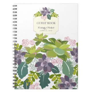 Succulent Bouquet II Floral Wedding Guest Book Spiral Note Books