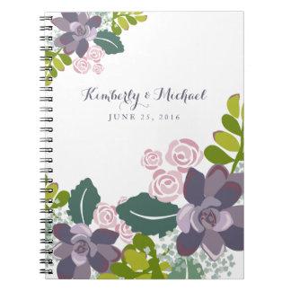 Succulent Bouquet II Floral Wedding Guest Book Notebooks