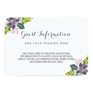 Succulent Bouquet II Floral Wedding Insert Card