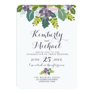 Succulent Bouquet II Floral Wedding Invitation