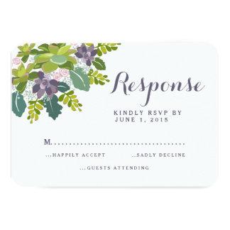 Succulent Bouquet II Floral Wedding RSVP Response 3.5x5 Paper Invitation Card