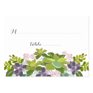 Succulent Bouquet II Floral Wedding Seating Card