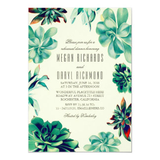 Succulent Bouquet - Teal Floral Rehearsal Dinner Card