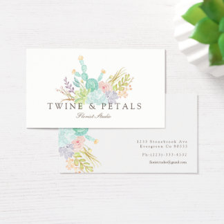 Succulent Bouquet Watercolor | Business Card