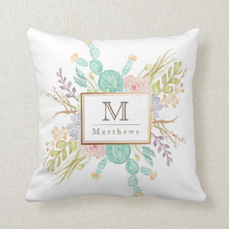 Succulent Bouquet Watercolor | Initial Throw Pillow