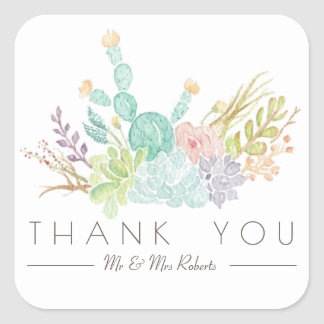 Succulent Bouquet Watercolor | Thank You Square Sticker