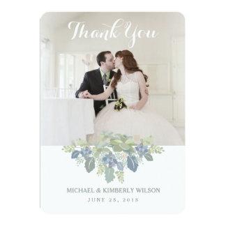 Succulent Bouquet Wedding Photo Thank You Card