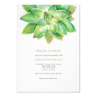Succulent Bridal Shower Invitation, Watercolor Invitation