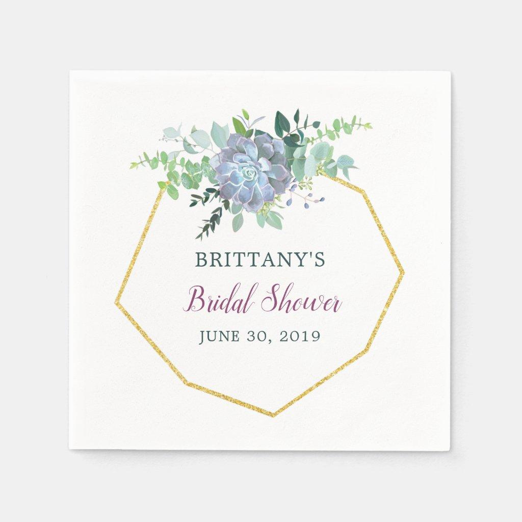 Succulent Bridal Shower Napkin