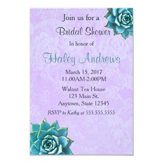 Succulent Bridal Shower Watercolor Lavender Lace Card