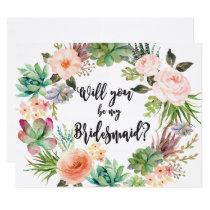 Succulent Bridesmaid Proposal Card Cactus