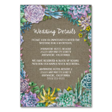 Succulent Burlap Wedding Reception Insert Cards