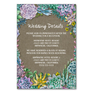 Succulent Burlap Wedding Reception Insert Cards