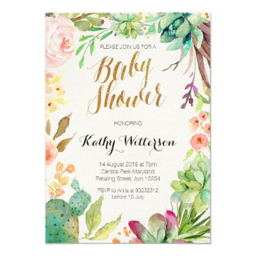 Toddler & Baby themed Succulent cactus baby shower invitation