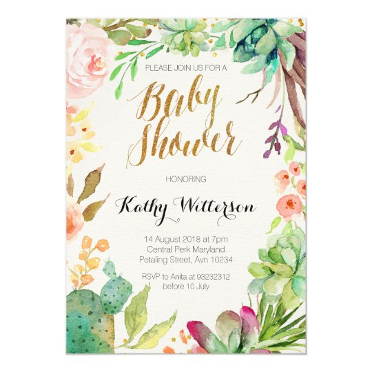 Succulent Cactus Baby Shower Invitation Zazzle Com