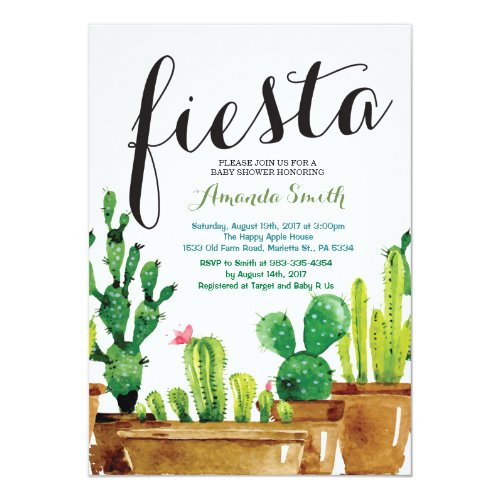 Succulent Cactus Fiesta Baby Shower Invitation