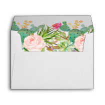 Succulent Cactus Floral & Return Address for 5x7 Envelope