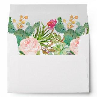 Succulent Cactus Floral & Return Address for 5x7 Envelope