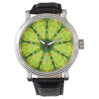 Succulent Cactus Leaves Fractal Wrist Watch