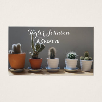 succulent cactus modern artsy grunge business card