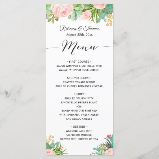Succulent Cactus Plants Floral Wedding Menu