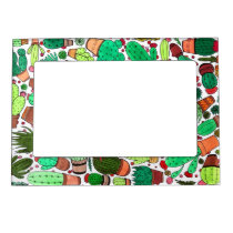 Succulent Cactus Potted Plants Green Cacti Garden Magnetic Frame
