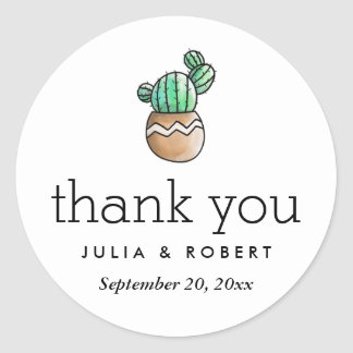 Succulent Cactus Rustic Minimal Wedding Thank You Classic Round Sticker