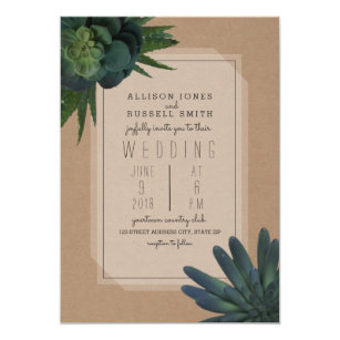 succulent cardstock inspired wedding invitation - Invitation Card Stock