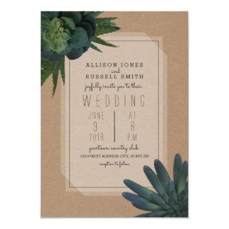 Succulent Cardstock Inspired Wedding Invitation