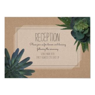 Succulent Cardstock Inspired Wedding Reception Card
