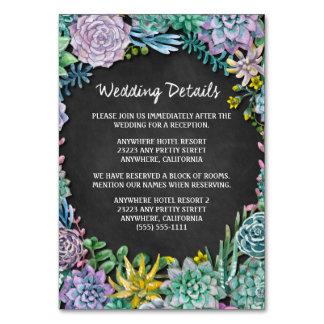 Succulent Chalk Wedding Reception Insert Cards