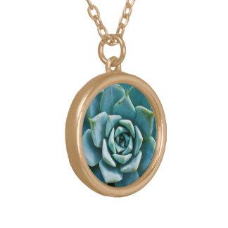 Succulent Closeup Gold Plated Necklace