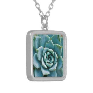 Succulent Closeup Silver Plated Necklace