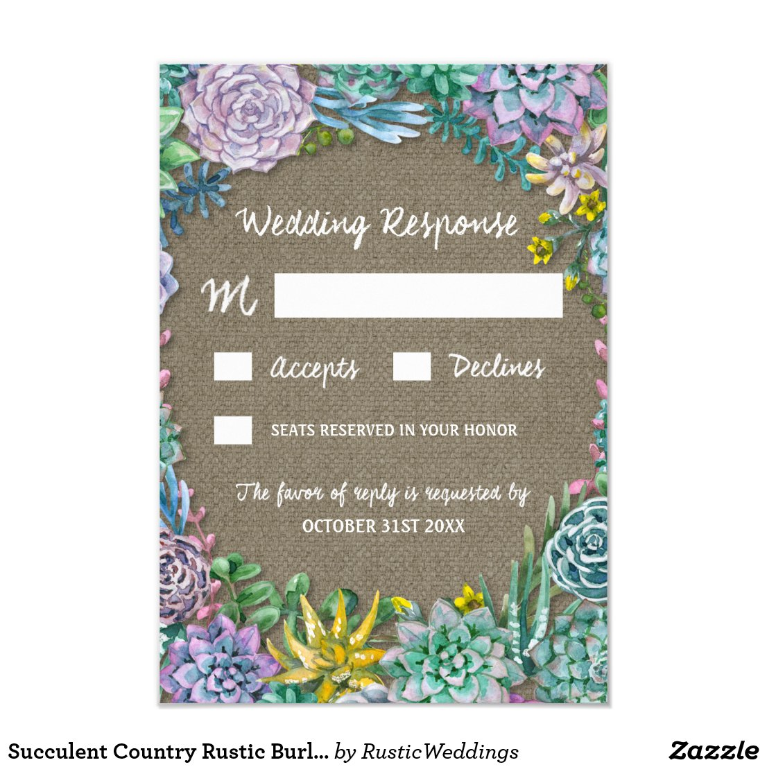 Succulent Country Rustic Burlap Wedding RSVP Cards