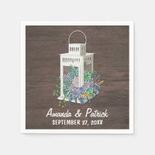 Succulent Country Rustic Lantern Wedding Napkins