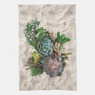 Succulent decor kitchen towel