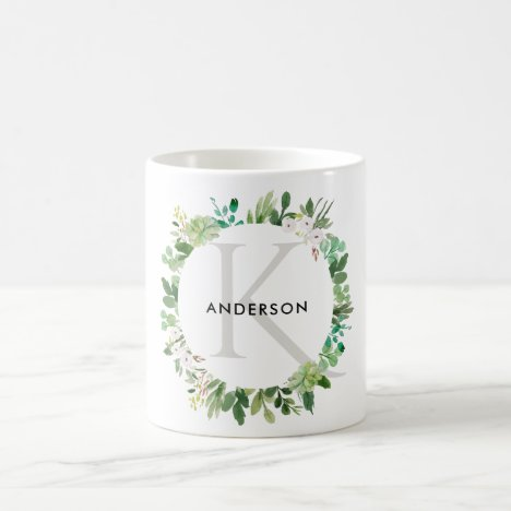 SUCCULENT EUCALYPTUS FOLIAGE WATERCOLOR MONOGRAM COFFEE MUG