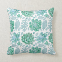Succulent eucalyptus pattern 3717 throw pillow