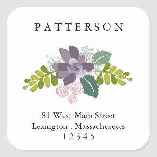 Succulent Floral Garden Return Address Label