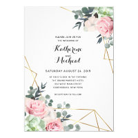 Succulent floral geometric wedding invitation