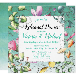 Succulent Floral Rehearsal Dinner Invitations