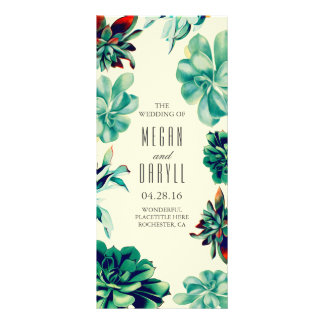Succulent Floral Teal Wedding Programs