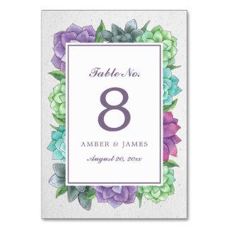Succulent Florals Table Number Card   Lavender