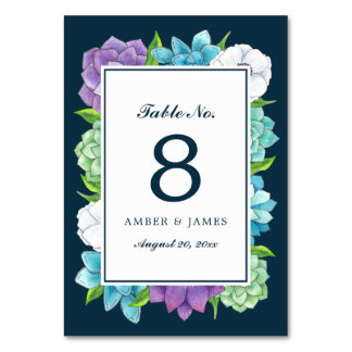 Succulent Florals Table Number Card   Navy