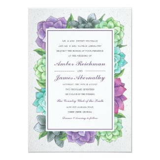 Succulent Florals Wedding Invitation | Lavender