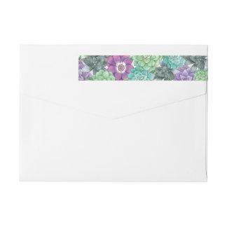 Succulent Florals Wedding | Lavender Wrap Around Label