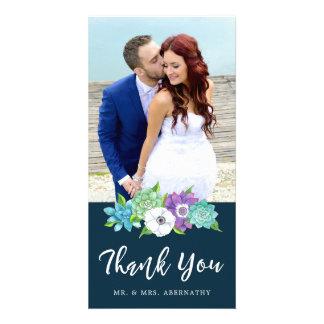 Succulent Florals Wedding Thank You Card | Navy