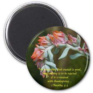 Succulent floreciente imán redondo 5 cm