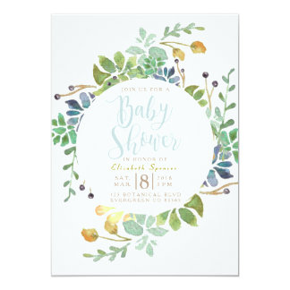 Succulent Garden Circle | Watercolor Baby Shower Card