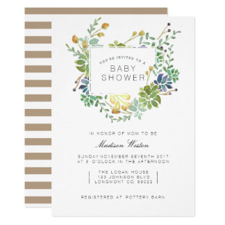 Succulent Garden | Floral Watercolor Baby Shower Card